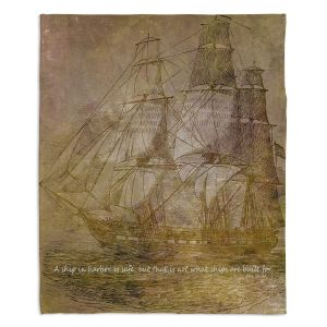 Decorative Fleece Throw Blankets | Angelina Vick - Sailboat Quote 3 | Schooner ship ocean pirate captain sea