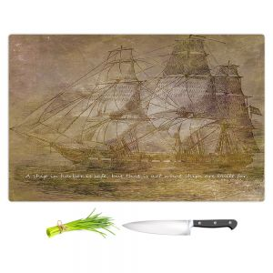 Artistic Kitchen Bar Cutting Boards | Angelina Vick - Sailboat Quote 3 | Schooner ship ocean pirate captain sea