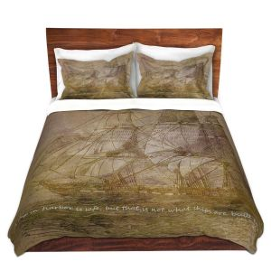 Artistic Duvet Covers and Shams Bedding | Angelina Vick - Sailboat Quote 3 | Schooner ship ocean pirate captain sea