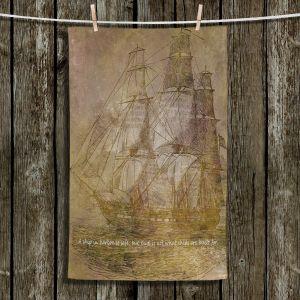 Unique Hanging Tea Towels | Angelina Vick - Sailboat Quote 3 | Schooner ship ocean pirate captain sea