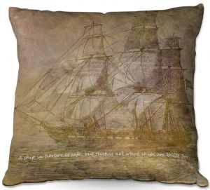 Throw Pillows Decorative Artistic | Angelina Vick - Sailboat Quote 3 | Schooner ship ocean pirate captain sea
