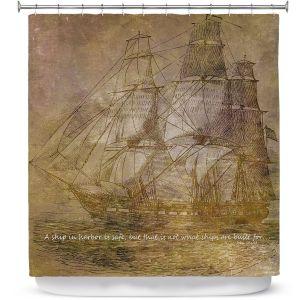 Premium Shower Curtains | Angelina Vick - Sailboat Quote 3 | Schooner ship ocean pirate captain sea