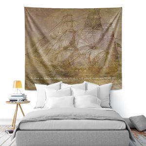 Artistic Wall Tapestry   Angelina Vick - Sailboat Quote 3   Schooner ship ocean pirate captain sea