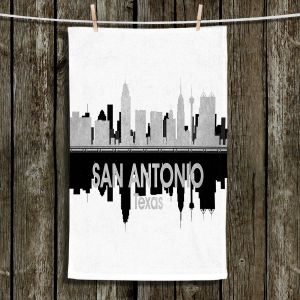 Unique Hanging Tea Towels | Angelina Vick - City IV San Antonio Texas | City Skyline Mirror Image