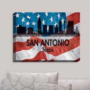 Decorative Canvas Wall Art   Angelina Vick - City VI San Antonio Texas   City Skyline American Flag Stars and Stripes