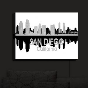 Nightlight Sconce Canvas Light | Angelina Vick - City IV San Diego California | City Skyline Mirror Image