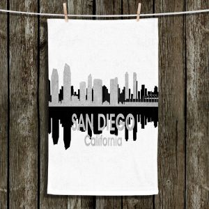 Unique Hanging Tea Towels | Angelina Vick - City IV San Diego California | City Skyline Mirror Image