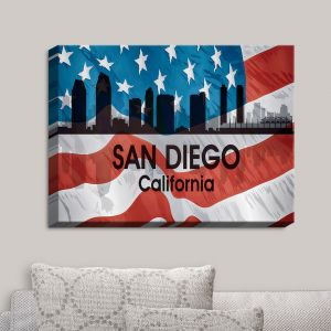 Decorative Canvas Wall Art | Angelina Vick - City VI San Diego California | City Skyline American Flag Stars and Stripes