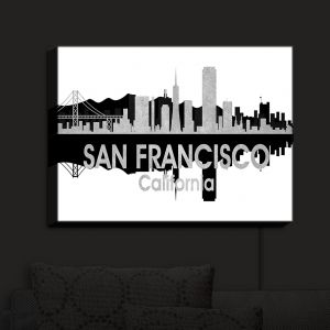 Nightlight Sconce Canvas Light | Angelina Vick - City IV San Francisco California | City Skyline Mirror Image