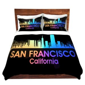 Artistic Duvet Covers and Shams Bedding | Angelina Vick - City V San Francisco California