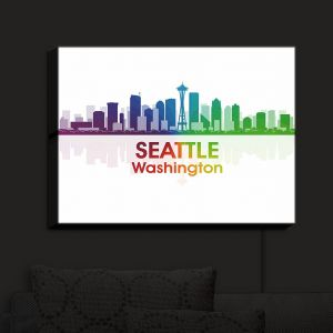 Nightlight Sconce Canvas Light | Angelina Vick - City I Seattle Washington | Skyline Dowtown Seattle
