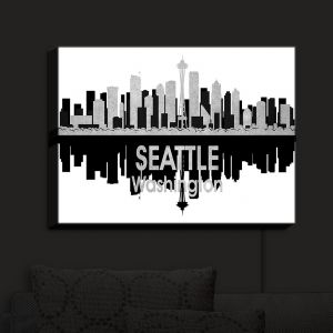Nightlight Sconce Canvas Light | Angelina Vick - City IV Seattle Washington | City Skyline Mirror Image
