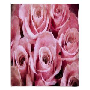 Decorative Fleece Throw Blankets | Angelina Vick - Soft Pink Roses | flower still life close up