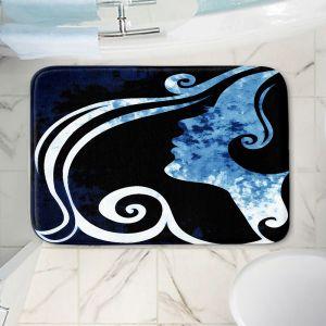 Decorative Bathroom Mats | Angelina Vick - Wait for You Blue | silhouette profile face