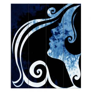 Decorative Wood Plank Wall Art   Angelina Vick - Wait for You Blue   silhouette profile face