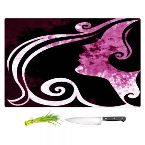 Artistic Kitchen Bar Cutting Boards | Angelina Vick - Wait for You Purple | silhouette profile face