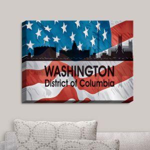Decorative Canvas Wall Art   Angelina Vick - City VI Washington District Of Columbia   City Skyline American Flag Stars and Stripes