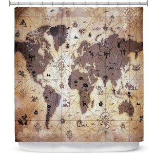 Premium Shower Curtains | Angelina Vick - Whimsical World Map V