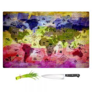 Artistic Kitchen Bar Cutting Boards | Angelina Vick - Whimsical World Map VI