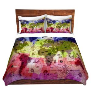 Artistic Duvet Covers and Shams Bedding | Angelina Vick - Whimsical World Map VI