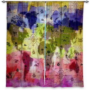 Decorative Window Treatments | Angelina Vick - Whimsical World Map VI