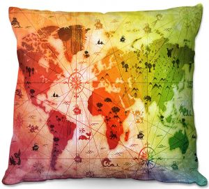 Throw Pillows Decorative Artistic | Angelina Vick - Whimsical World Map VII