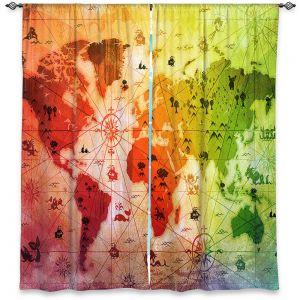 Decorative Window Treatments | Angelina Vick - Whimsical World Map VII