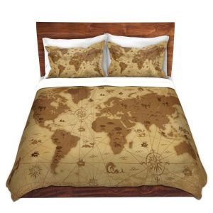 Unique Duvet Microfiber Twin set from DiaNoche Designs by Angelina Vick - Whimsical World Map I