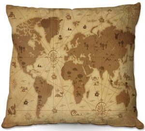 Throw Pillows Decorative Artistic | Angelina Vick - Whimsical World Map I