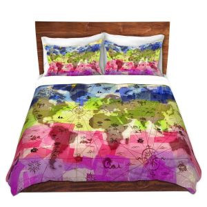 Artistic Duvet Covers and Shams Bedding | Angelina Vick - Whimsical World Map II