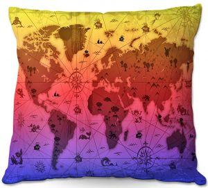 Throw Pillows Decorative Artistic   Angelina Vick - Whimsical World Map III