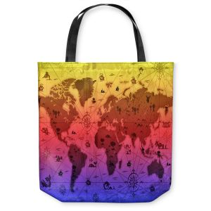 Unique Shoulder Bag Tote Bags | Angelina Vick - Whimsical World Map III