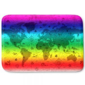Decorative Bathroom Mats | Angelina Vick - Whimsical World Map IV