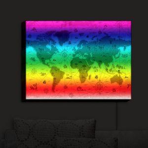 Nightlight Sconce Canvas Light | Angelina Vick - Whimsical World Map IV | World Map