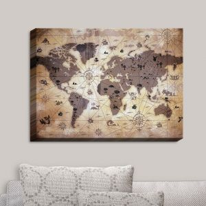 Decorative Canvas Wall Art   Angelina Vick - Whimsical World Map V   Maps World