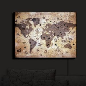 Nightlight Sconce Canvas Light | Angelina Vick - Whimsical World Map V | Maps World
