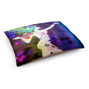 Decorative Dog Pet Beds | Angelina Vick - Wondrous Night 3 | Graphic silhouette abstract leaves butterfly flower