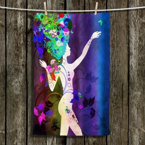 Unique Bathroom Towels | Angelina Vick - Wondrous Night 3 | Graphic silhouette abstract leaves butterfly flower