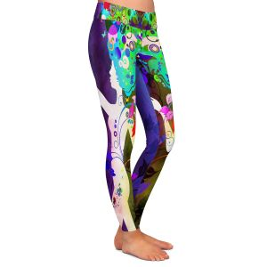 Casual Comfortable Leggings | Angelina Vick - Wondrous Night 3 | Graphic silhouette abstract leaves butterfly flower