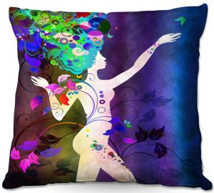 Decorative Outdoor Patio Pillow Cushion | Angelina Vick - Wondrous Night 3 | Graphic silhouette abstract leaves butterfly flower
