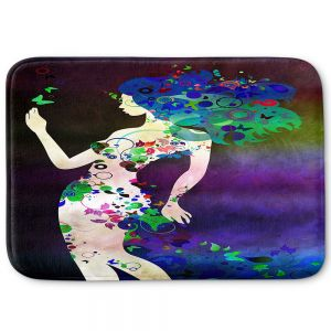 Decorative Bathroom Mats | Angelina Vick - Wondrous Night 4 | Graphic silhouette abstract leaves butterfly flower