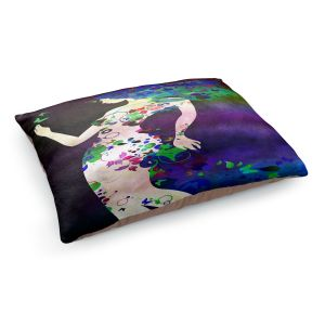 Decorative Dog Pet Beds | Angelina Vick - Wondrous Night 4 | Graphic silhouette abstract leaves butterfly flower