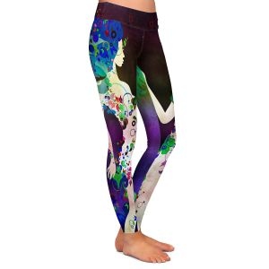 Casual Comfortable Leggings | Angelina Vick - Wondrous Night 4 | Graphic silhouette abstract leaves butterfly flower