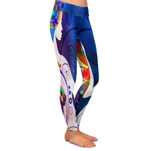 Casual Comfortable Leggings | Angelina Vick - Wondrous Night 5 | Graphic silhouette abstract leaves butterfly flower