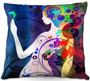 Decorative Outdoor Patio Pillow Cushion | Angelina Vick - Wondrous Night 5 | Graphic silhouette abstract leaves butterfly flower