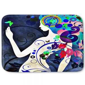 Decorative Bathroom Mats | Angelina Vick - Wondrous Night 6 | Graphic silhouette abstract leaves butterfly flower