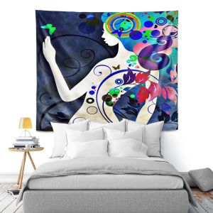 Artistic Wall Tapestry | Angelina Vick - Wondrous Night 6 | Graphic silhouette abstract leaves butterfly flower