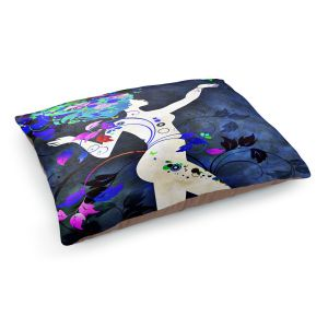 Decorative Dog Pet Beds | Angelina Vick - Wondrous Night 7 | Graphic silhouette abstract leaves butterfly flower