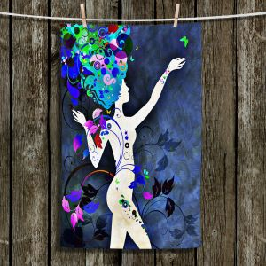 Unique Hanging Tea Towels | Angelina Vick - Wondrous Night 7 | Graphic silhouette abstract leaves butterfly flower