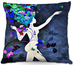 Decorative Outdoor Patio Pillow Cushion | Angelina Vick - Wondrous Night 7 | Graphic silhouette abstract leaves butterfly flower